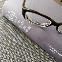 """blaues Buch mit Lesebrille auf einer Couch. Titel des Buches """"Der Wal und das Ende der Welt"""" von John Ironmonger"""