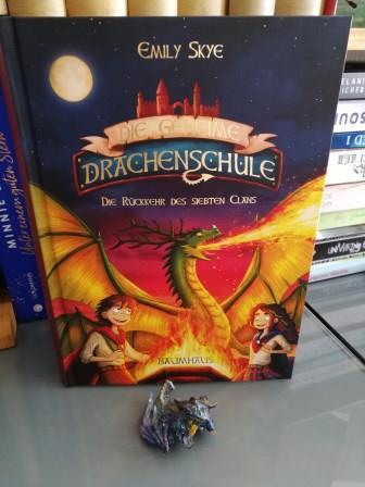 """Buch """"Die geheime Drachenschule"""" Teil 3, Auf dem Cover ist ein feuerspeiender drache und 2 Kinder zu sehen"""